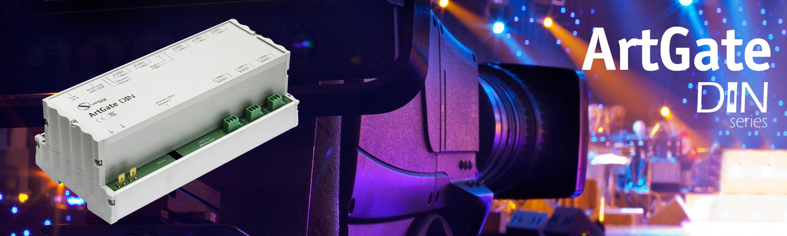 DIN-montierter DMX-Ethernet-Konverter mit 2 Ethernet-Ports und Trigger Inputs