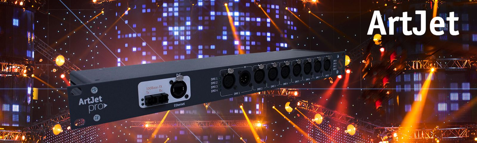 DMX <-> ArtNet / sACN Konverter mit Glasfaser-Konnektivität