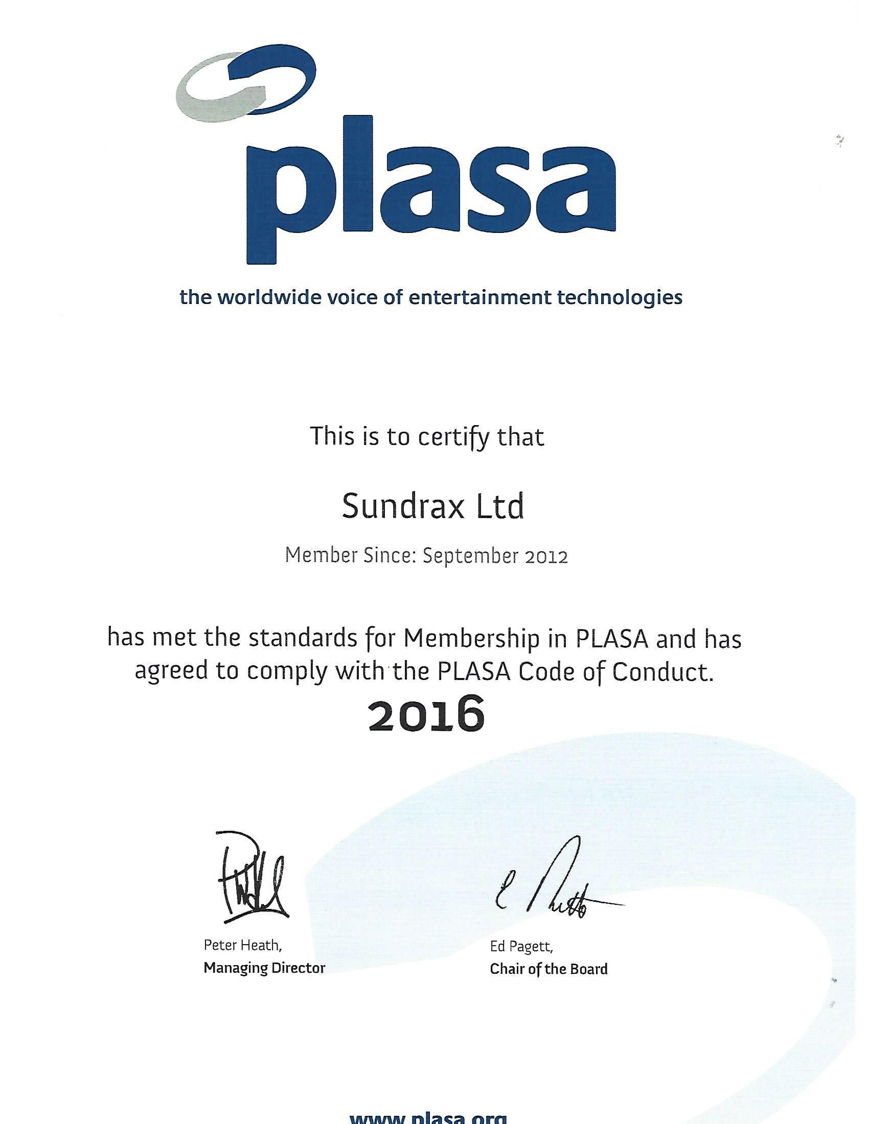 PLASA Membership 2016