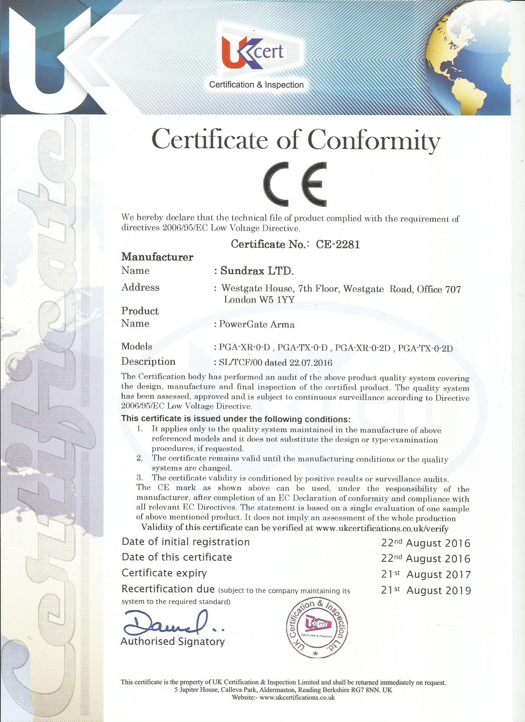 PowerGate CE Certificate