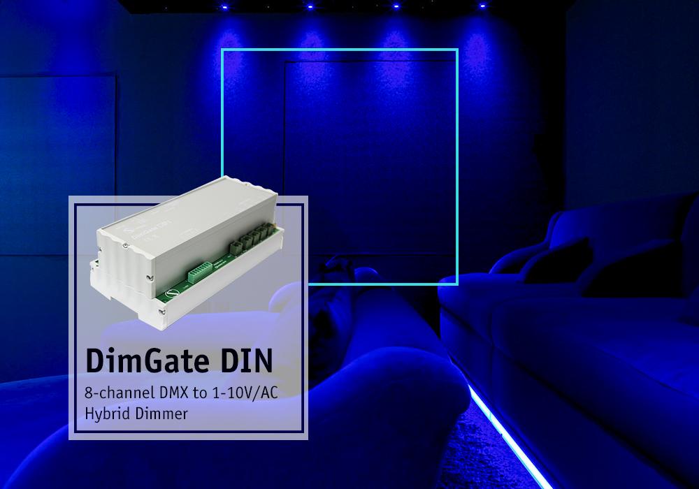 DimGate DIN, hybrid DMX512 to AC/1-10V dimmer