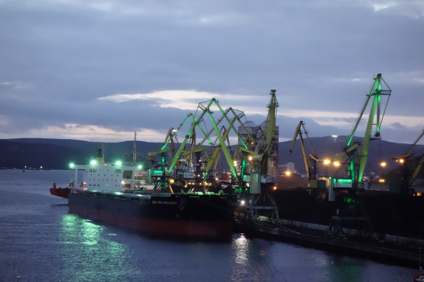 Travelling Cranes in Murmansk City Port , Russia
